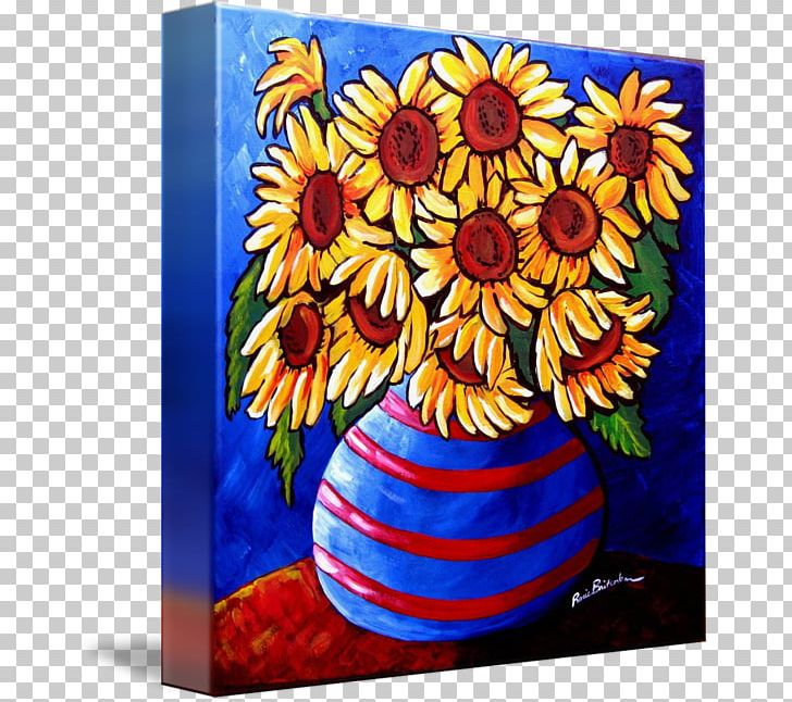 Floral Design Common Sunflower Art Still Life Vase PNG, Clipart, Acrylic Paint, Art, Artwork, Blue, Common Sunflower Free PNG Download