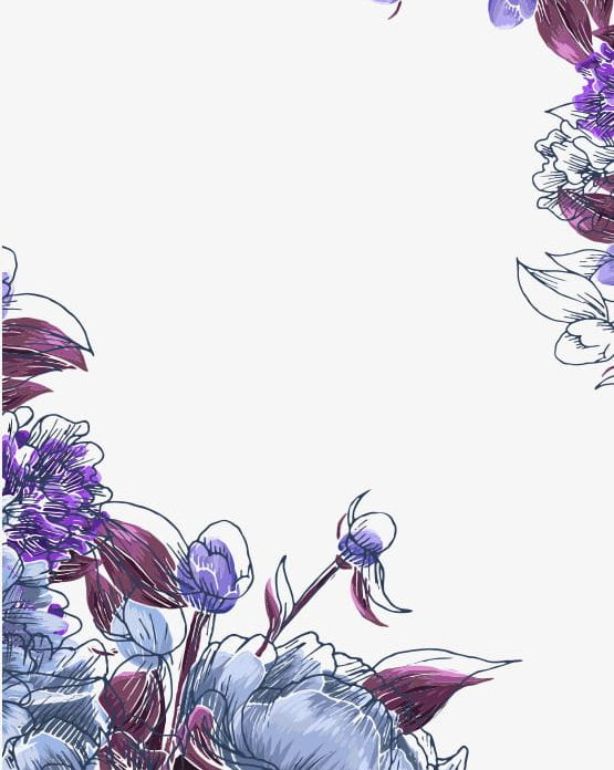 Hand Painted Purple Flowers Border Shading PNG, Clipart, Backgrounds, Border, Border Clipart, Borders, Flowers Free PNG Download