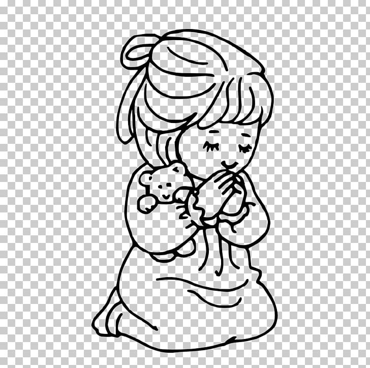 Coloring Book Prayer Child Girl Praying Hands PNG, Clipart, Arm, Black, Black And White, Boy, Cartoon Free PNG Download