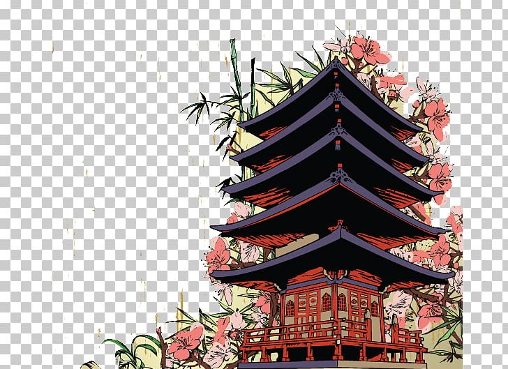 Japan Mural Wall Decal Png Clipart Background Building