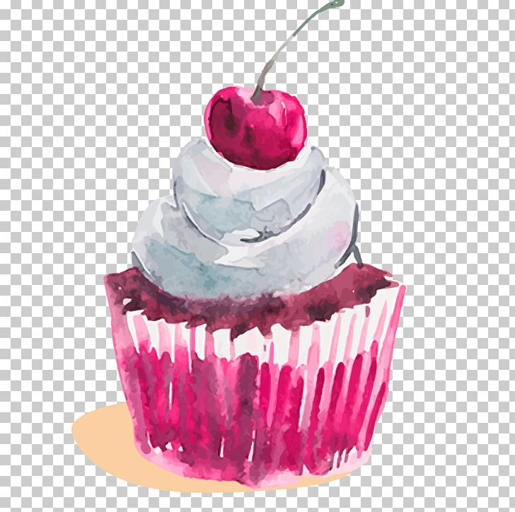 Cupcake Watercolor Painting Dessert PNG, Clipart, Birthday Cake, Buttercream, Cake, Cakes, Cream Free PNG Download