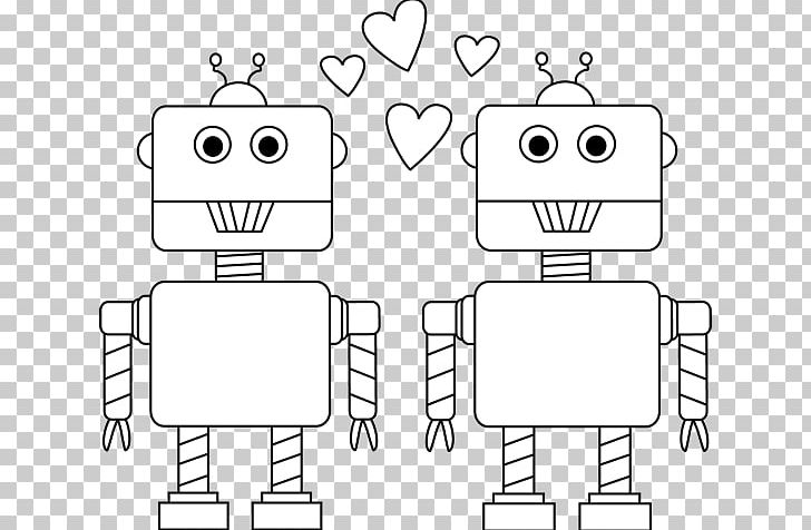 Black And White Valentines Day Robot Car PNG, Clipart, Angle, Black And White, Cartoon, Coloring Book, Communication Free PNG Download