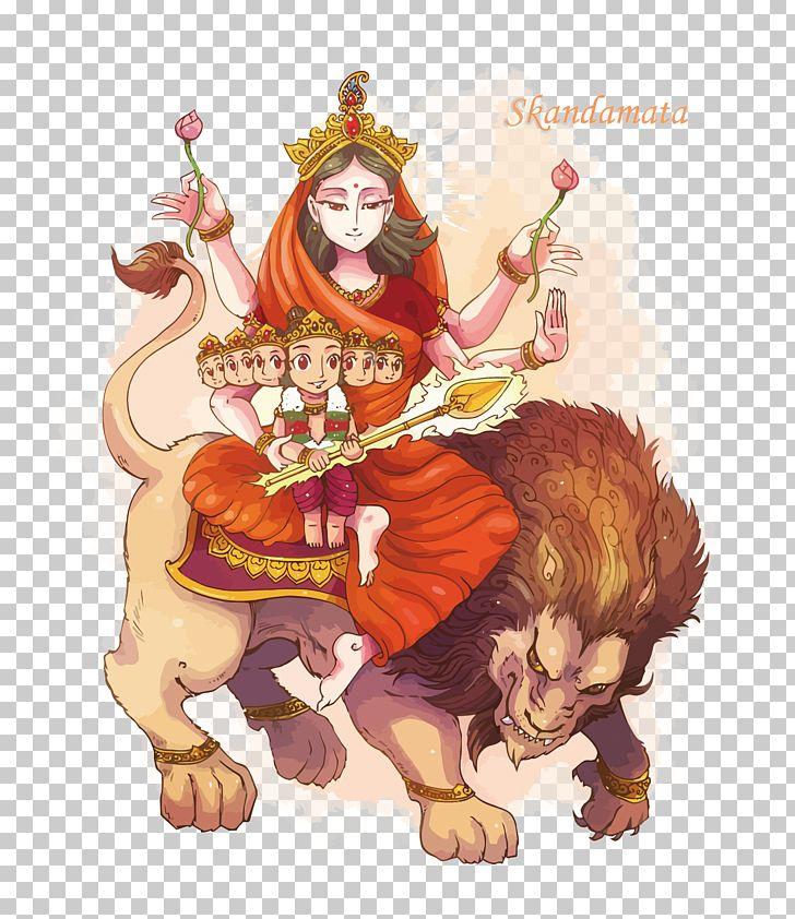 Parvati Skandamata Kali Navaratri Kartikeya PNG, Clipart, Carnivoran, Cartoon, Cat Like Mammal, Dussehra, Fictional Character Free PNG Download