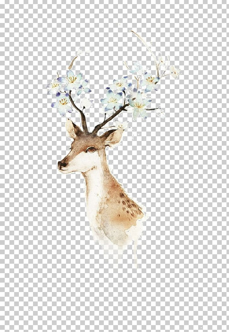 Deer Watercolor Painting Illustration PNG, Clipart, Animal, Animals, Antler, Architecture, Art Free PNG Download