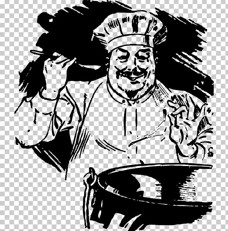 Meatball Chef S Uniform Cooking Png Clipart Art Artwork Black And White Cartoon Chef Free Png Download