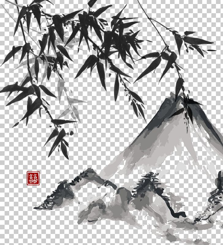 Japanese Painting Ink Wash Painting Japanese Art PNG, Clipart, Branch, Chinese Style, Happy Birthday Vector Images, Leaf, Monochrome Free PNG Download
