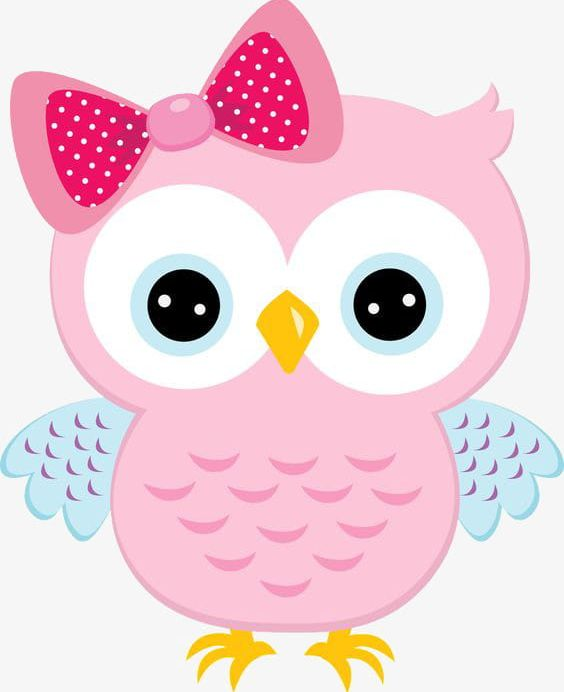 Owl pink. Painted cartoon with bow