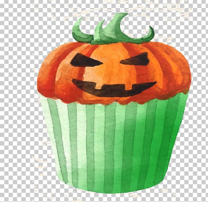 Cupcake Halloween Watercolor Painting PNG, Clipart, Cake, Cakes, Calabaza, Cup, Cup Cake Free PNG Download