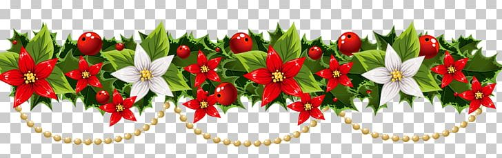 Christmas wreath poinsettia. Decoration garland png clipart