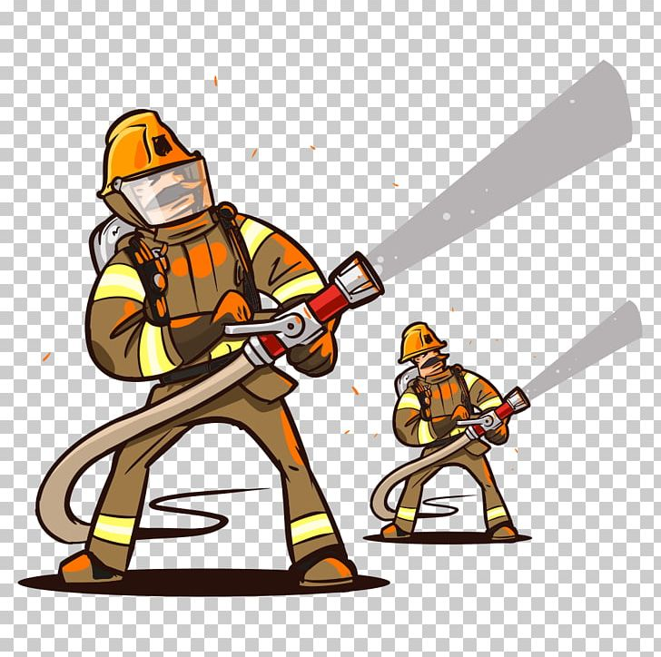 Firefighter Cartoon Fire Hose PNG, Clipart, Cartoon