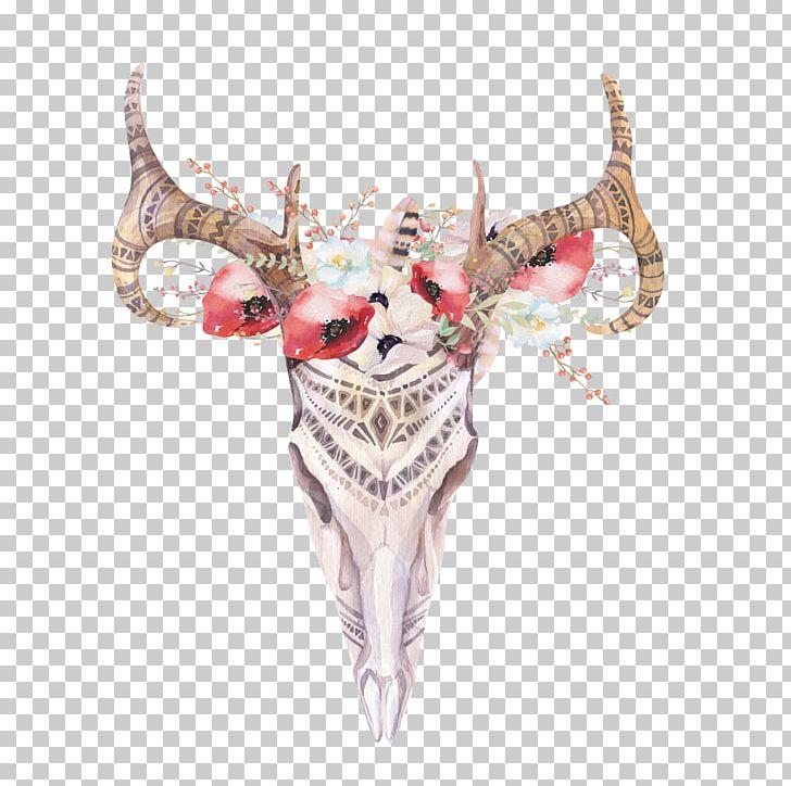 Deer boho. Antler bohemianism skull chic