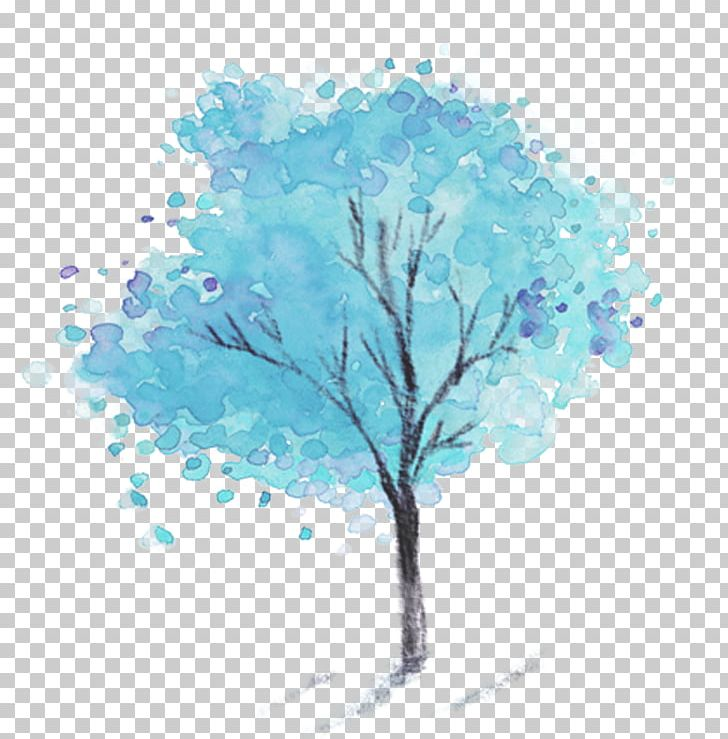 Dongzhi Snowman Watercolor Painting Illustration PNG, Clipart, Aqua, Blue, Blue Background, Blue Flower, Branch Free PNG Download
