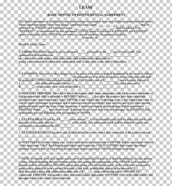 Rental Agreement Lease Contract Landlord Form Png Clipart