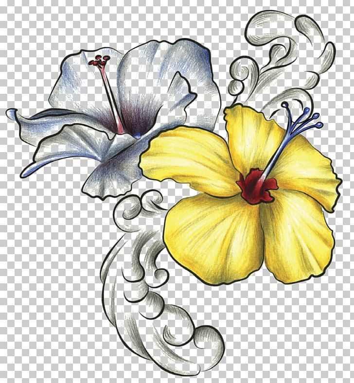 Hawaiian Hibiscus Drawing Rosemallows Flower PNG, Clipart