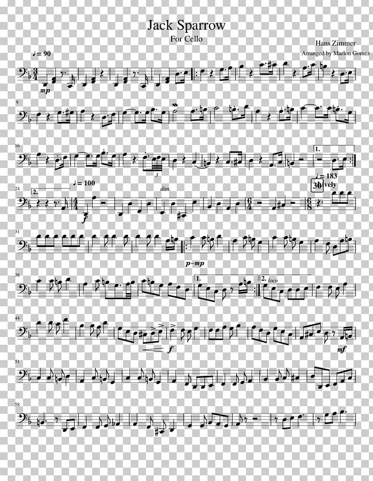 Jack Sparrow Sheet Music Cello Music Pirates Of The