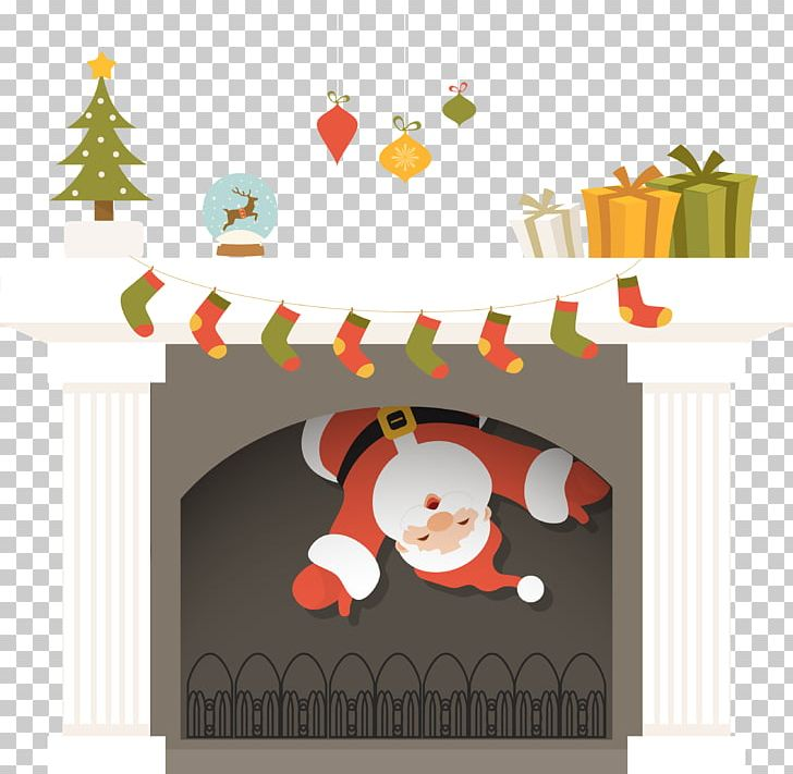 Santa Claus Fireplace Christmas PNG, Clipart, Brown, Cartoon