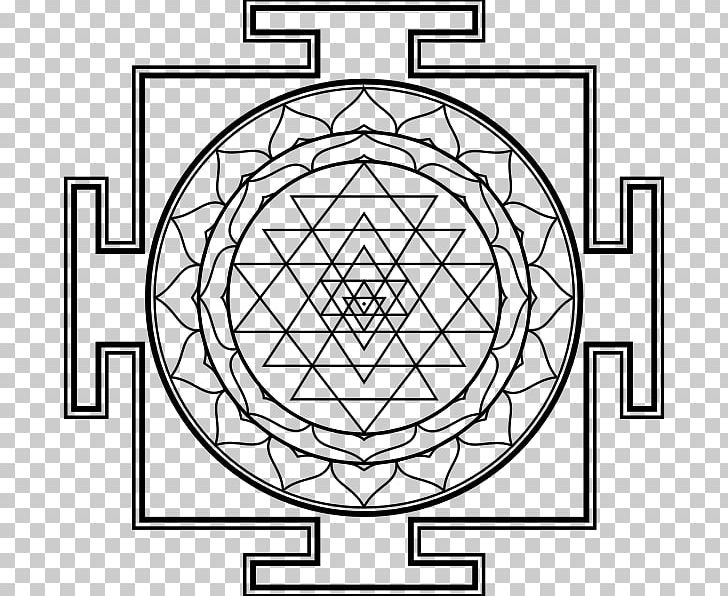Lakshmi Kali Sri Yantra PNG, Clipart, Area, Black And White