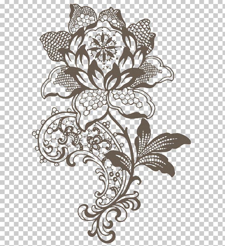 Lace stencil. Flower handicraft pattern png