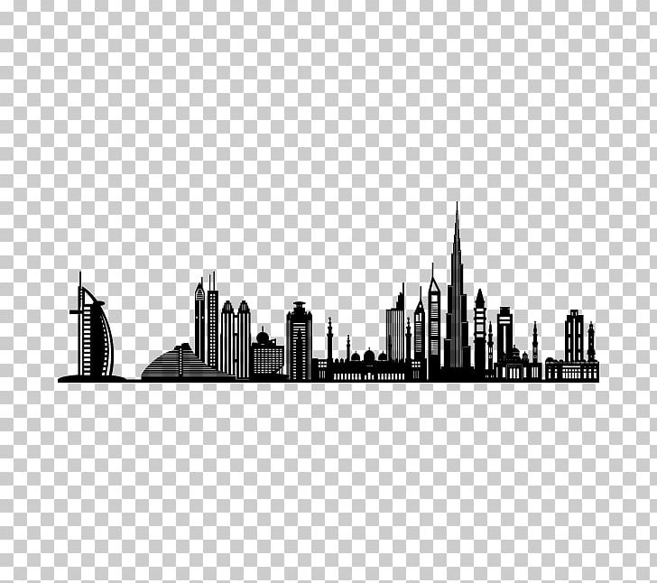 Dubai Wall Decal Sticker PNG, Clipart, Bedroom, Black And White, Building, City, Cityscape Free PNG Download