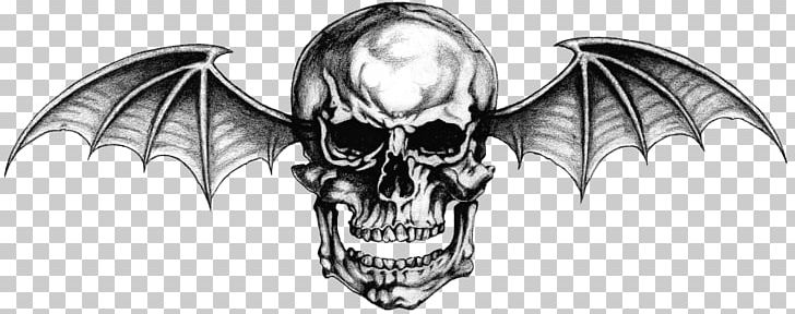 Hail To The King: Deathbat Avenged Sevenfold Tattoo Logo PNG, Clipart, Angel Wing, Angel Wings, Black, Black And White, Bone Free PNG Download