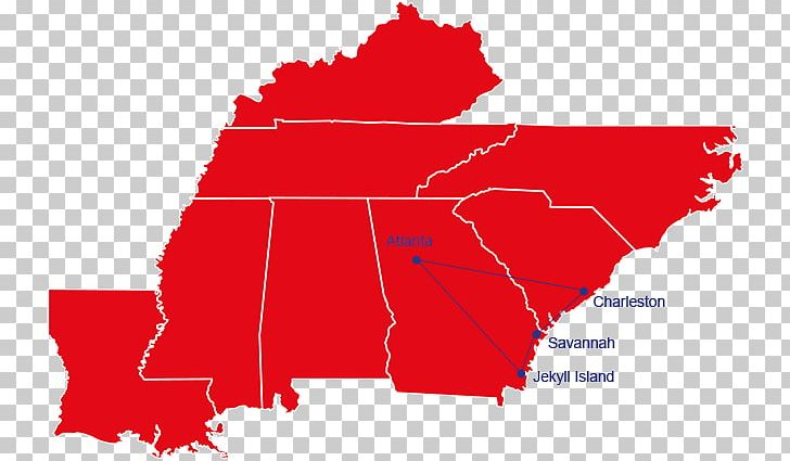 Southeastern United States Map Dixie Region Midwestern ...