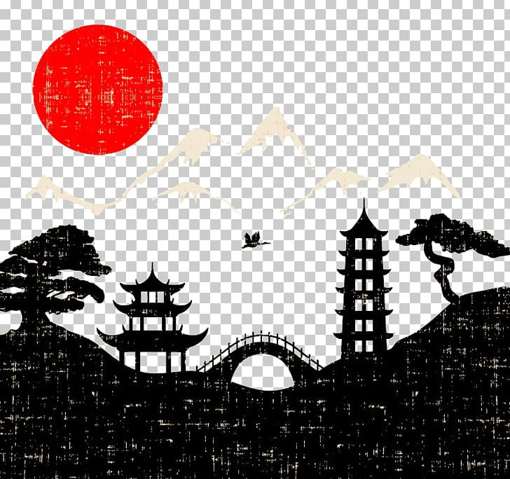 Japan Landscape Painting Png Clipart Black Black And White Brand City Silhouette Computer Wallpaper Free Png