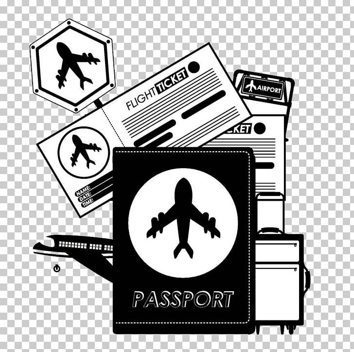 Airplane Passport Travel Png Clipart Background Black Black Background Black Board Black Hair Black White Free