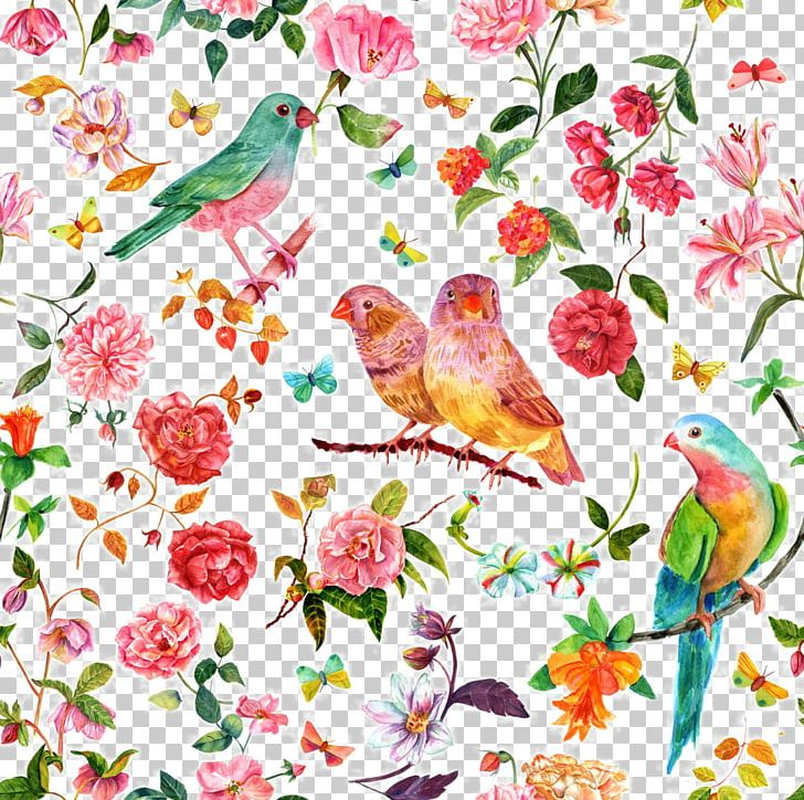 Watercolour Flowers Watercolor Painting Drawing PNG, Clipart, Background Pattern, Bird, Branch, Fauna, Flower Free PNG Download