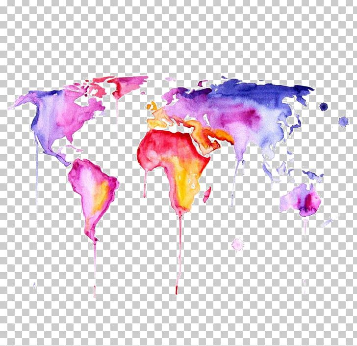 World Map Watercolor Painting Png Clipart Art Canvas Computer