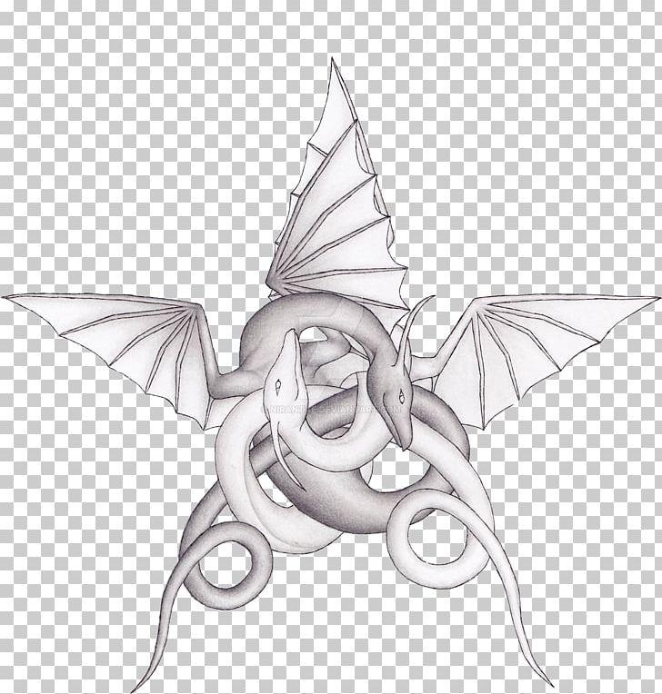 Drawing Pentagram Dragon Line Art Png Clipart Artwork Black And