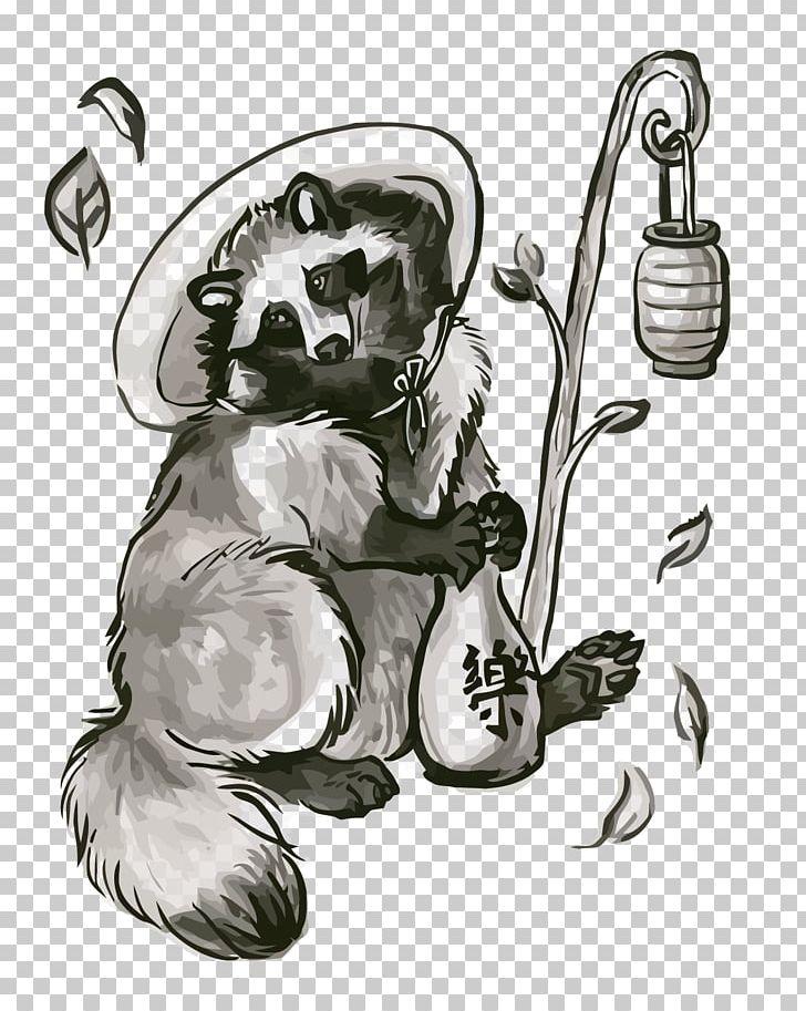 Japanese Raccoon Dog Visual Arts Drawing Ink Wash Painting