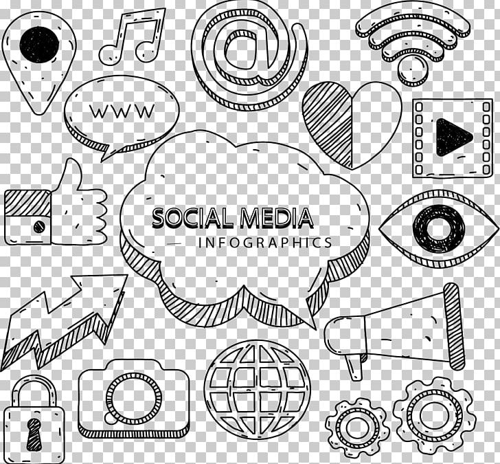 Social Media Marketing Infographic Euclidean Icon PNG, Clipart, Angle, Arrows, Auto Part, Black And White, Brand Management Free PNG Download