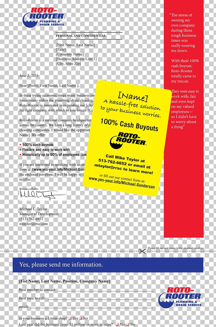 Advertising Mail Roto-Rooter Plumbing & Drain Service Direct