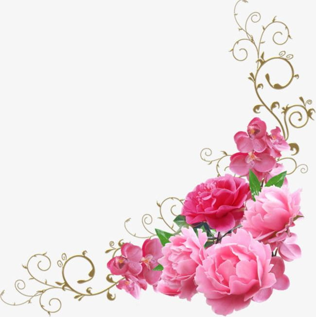 Pink Flowers Decorate The Corners PNG, Clipart, Backgrounds, Bouquet, Corner, Corners Clipart, Decorate Clipart Free PNG Download