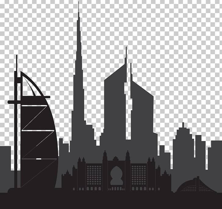 Dubai Skyline Silhouette PNG, Clipart, Architecture, Art Dubai, Black And White, Building, City Free PNG Download