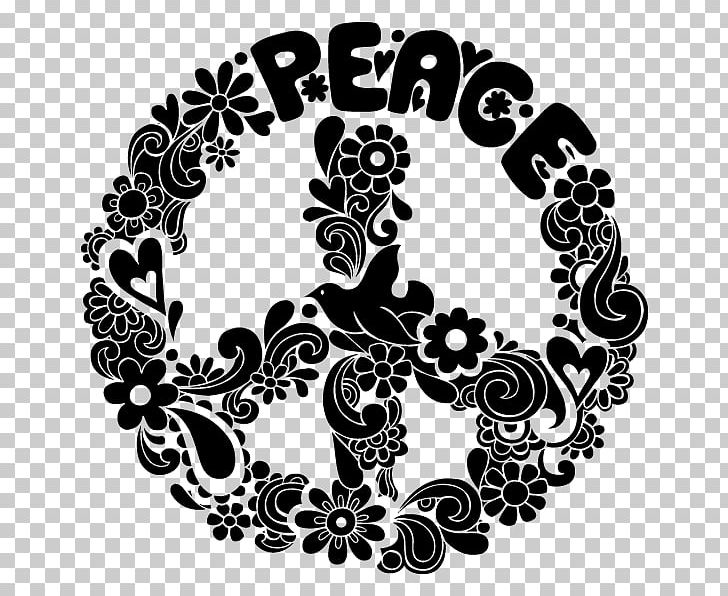 Peace Symbols Graphic Design PNG, Clipart, Art, Black And White, Circle, Design, Flower Free PNG Download