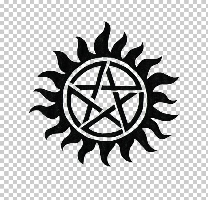 Dean Winchester Supernatural YouTube Pentagram Television Show PNG, Clipart, Black And White, Brand, Circle, Dean Winchester, Decal Free PNG Download