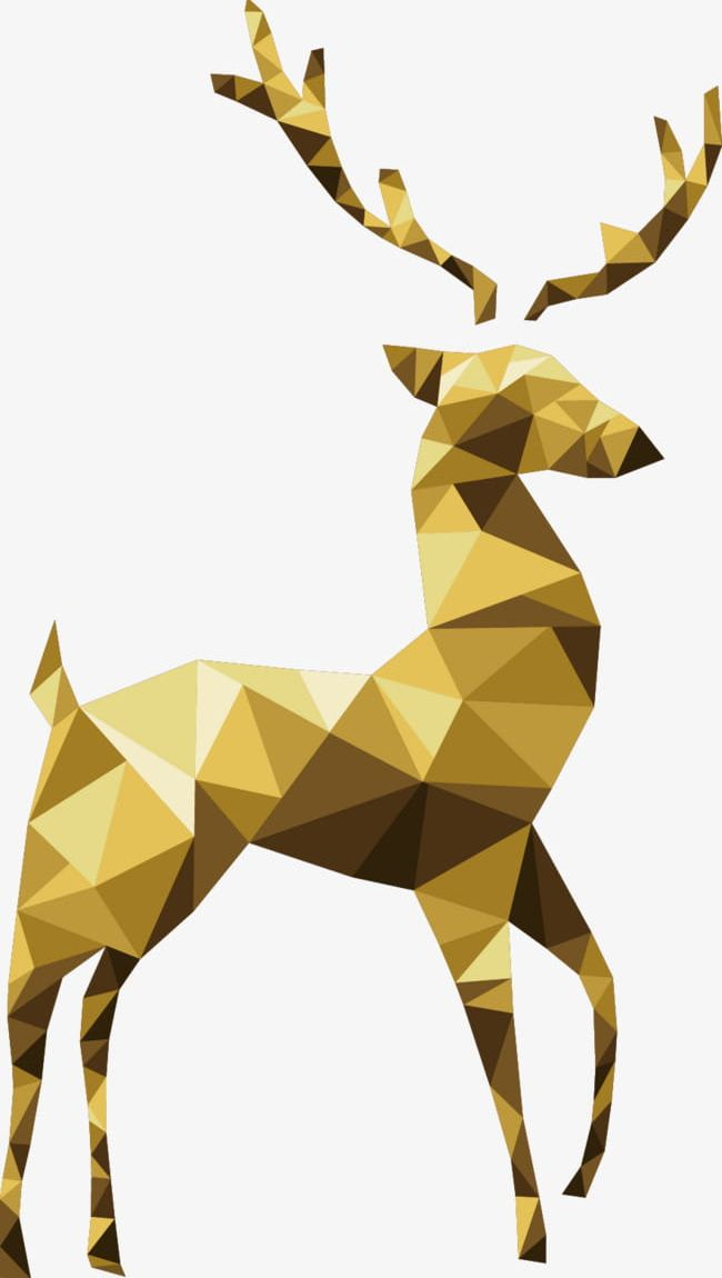 Geometric Golden Reindeer PNG, Clipart, Christmas, Decorations, Decorative, Decorative Material, Geometric Free PNG Download