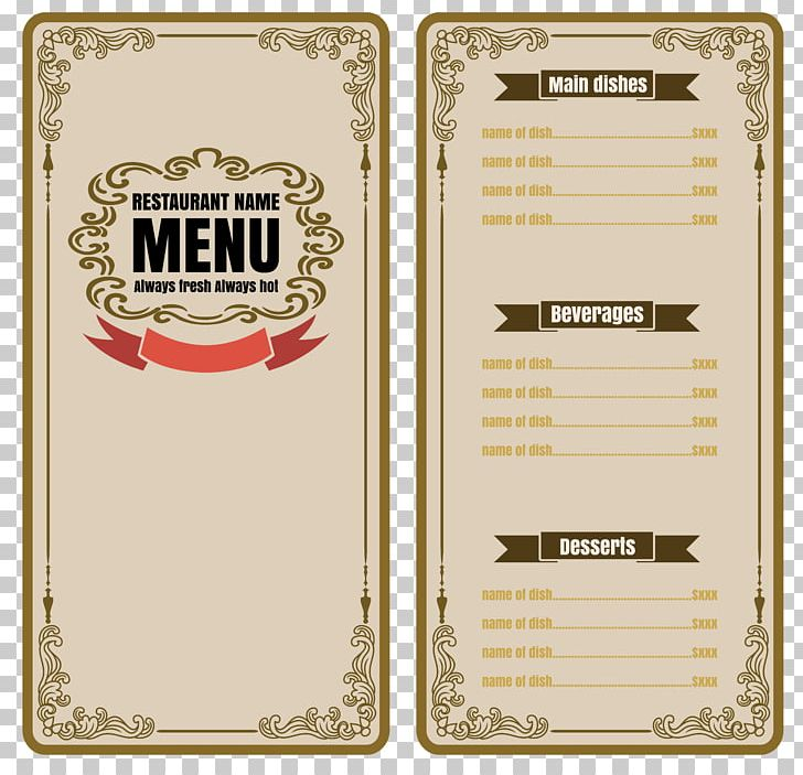 Cafe Menu Restaurant PNG, Clipart, Brand, Coffee Menu, Designer, Euclidean Vector, Fashion Recipes Free PNG Download