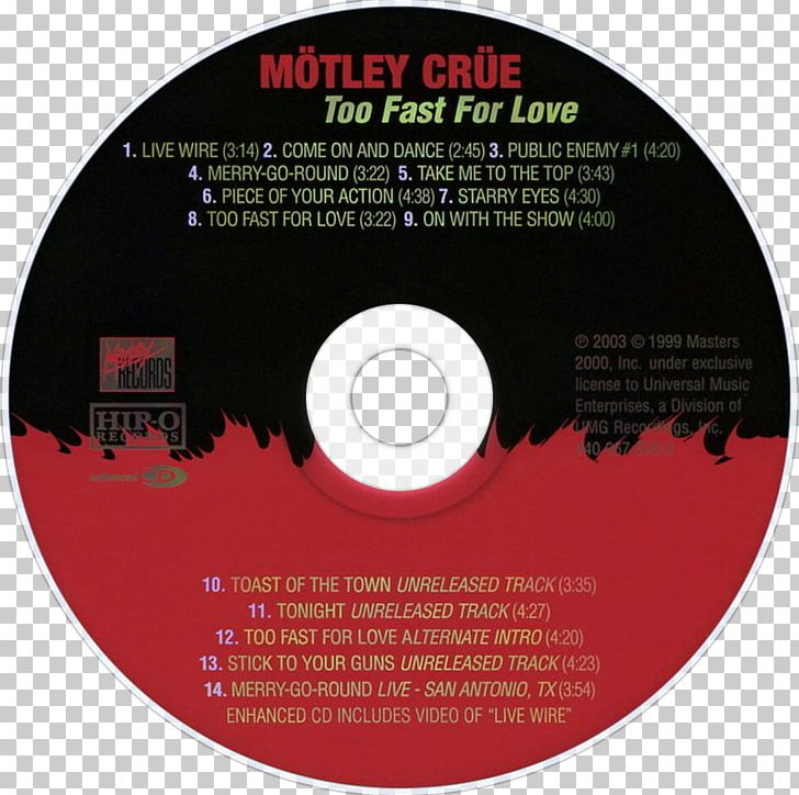 Too Fast For Love Compact Disc Music Album Mötley Crüe PNG