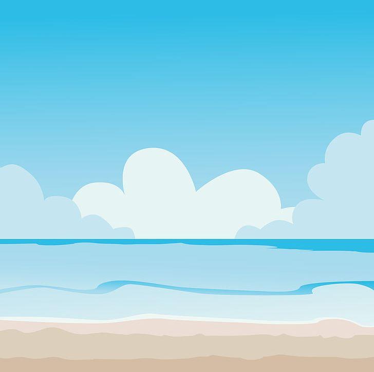 Cartoon clouds beach. Playa de la arena