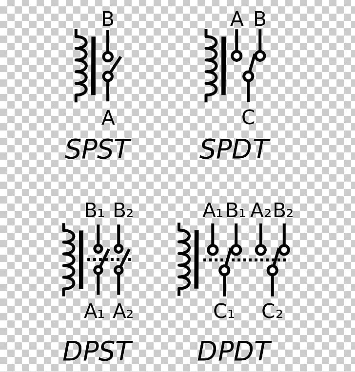 electronic symbol relay electrical switches circuit diagram schematic png,  clipart, angle, area, black, black and white,