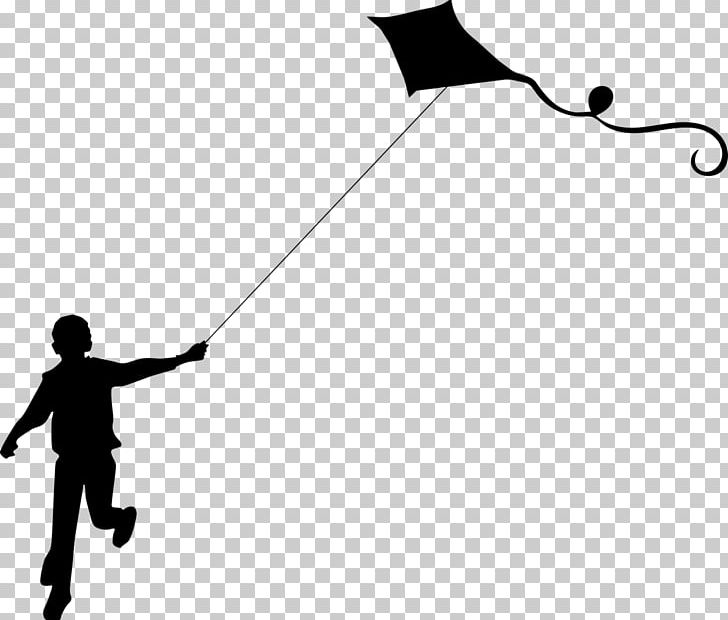 Kite Flight Silhouette PNG, Clipart, Angle, Animals, Black, Black And White, Child Free PNG Download