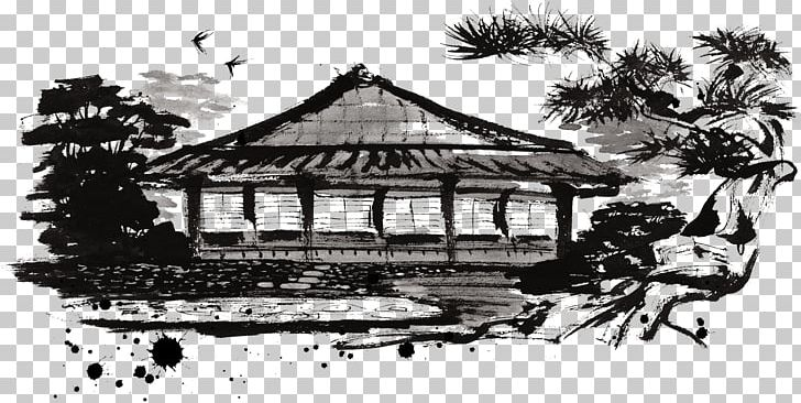 Japanese Architecture Landscape Illustration PNG, Clipart, Ancient Japan, Architecture, Black And White, Building, Cartoon Free PNG Download