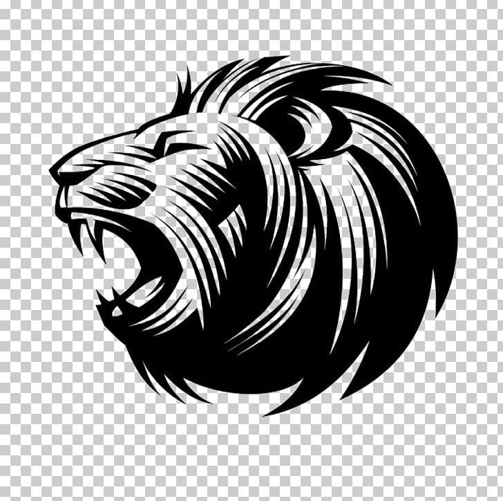 Lion Logo Symbol Idea PNG, Clipart, Animal, Animals, Black And White, Carnivoran, Circle Free PNG Download