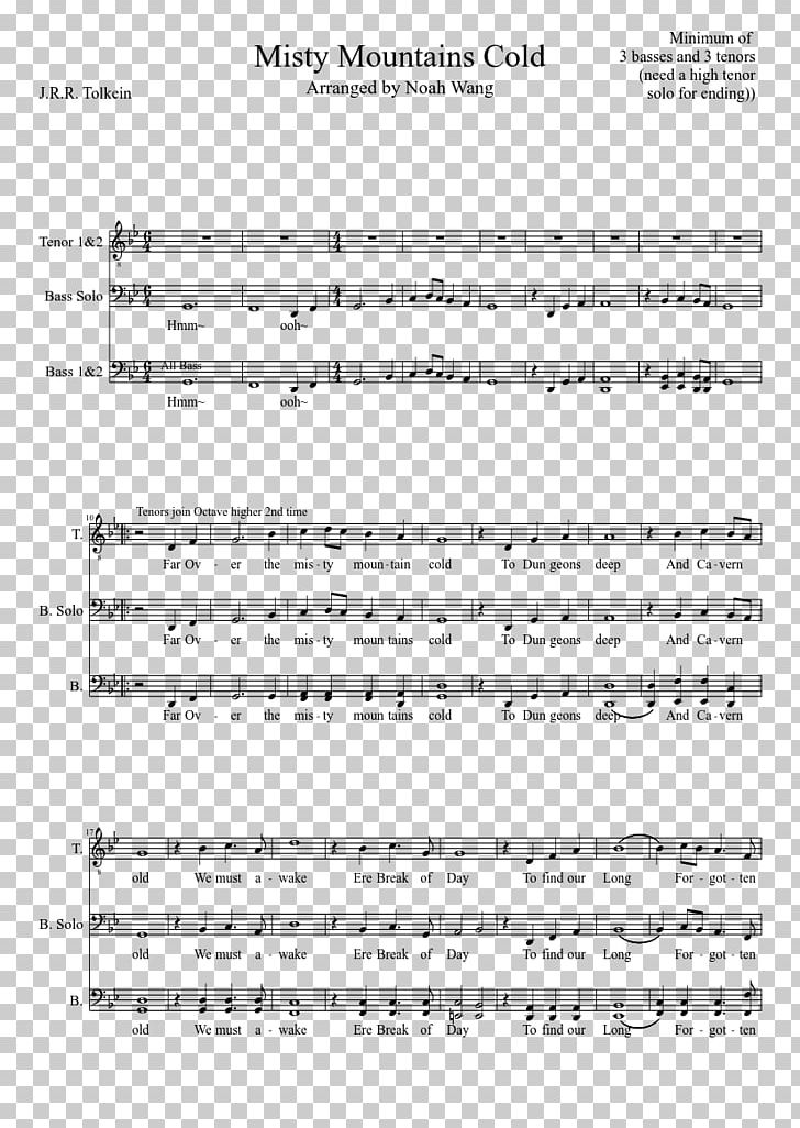 Sheet Music The Hobbit Misty Mountains MuseScore PNG