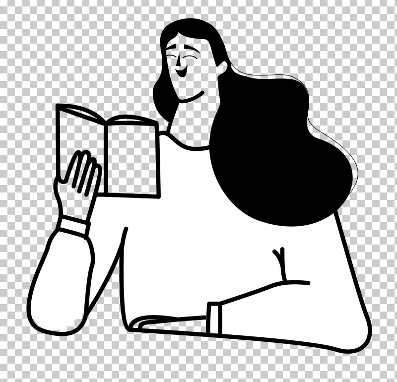 Reading Book PNG, Clipart, Black And White, Cartoon, Character, Human Body, Joint Free PNG Download