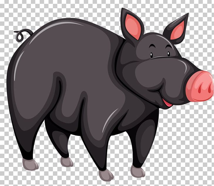 Large Black Pig Black Iberian Pig Cartoon Png Clipart Animal Animals Balloon Cartoon Black Boar Free