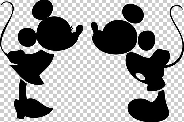 Minnie mouse silhouette. Mickey kiss png clipart