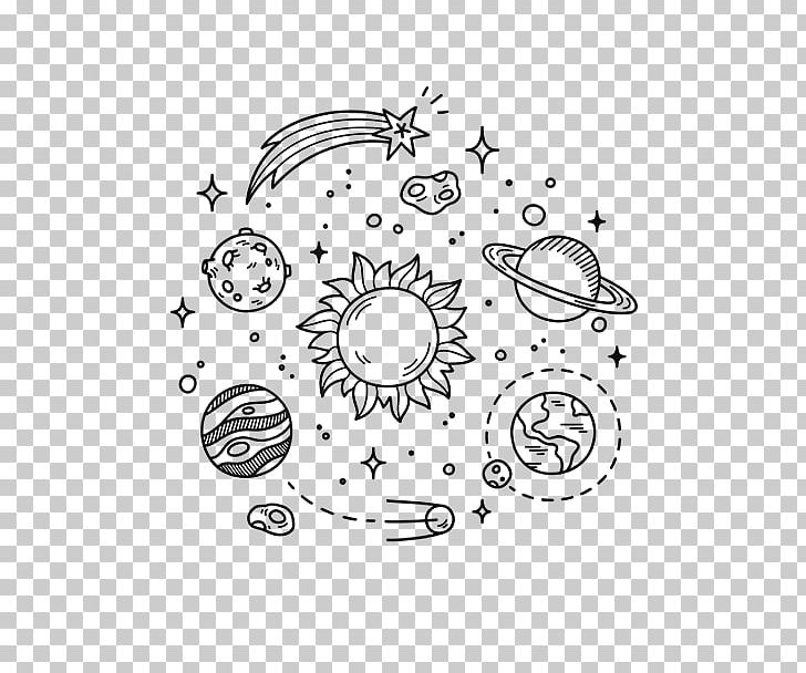 Planet drawing. Earth doodle outer space